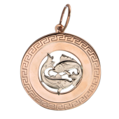 Кулон знак зодиака Рыбы в круге, греческий рисунок, красное золото