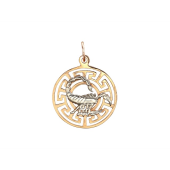 Кулон знак зодиака Скорпион в круге, греческий рисунок, красное и белое золото