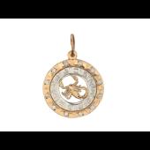 Кулон знак зодиака Скорпион в круге с фианитами, знаки зодиака по кругу, красное золото d=20мм