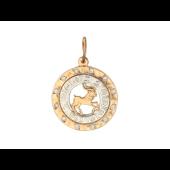 Кулон знак зодиака Козерог в круге с фианитами, знаки зодиака по кругу, красное золото d=20мм