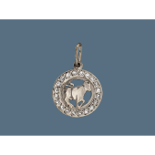 Знак Зодиака Телец в круге с фианитами, серебро