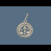 Кулон знак зодиака Весы в круге с фианитами, серебро