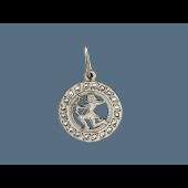 Кулон знак зодиака Стрелец в круге с фианитами, серебро