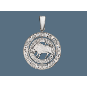Кулон знак зодиака Телец в круге с греческим узором и фианитами, серебро