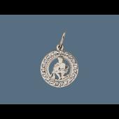 Кулон знак зодиака Водолей в круге с фианитами, серебро
