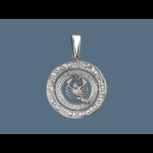 Кулон знак зодиака Рак в круге с греческим узором и фианитами, серебро
