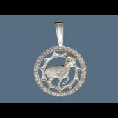 Кулон знак зодиака Овен в круге с фианитами, серебро
