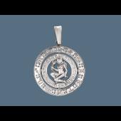 Кулон знак зодиака Дева в круге с греческим узором и фианитами, серебро