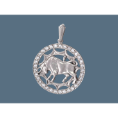 Кулон знак зодиака Телец в круге с фианитами, серебро