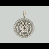 Кулон знак зодиака Близнецы в круге с фианитами, серебро