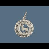 Кулон Стрелец в круге с фианитами и греческим рисунком, серебро 35мм