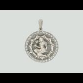 Кулон знак зодиака Девав круге с фианитами, серебро