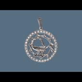 Кулон знак зодиака Скорпион в круге с фианитами, серебро
