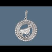 Кулон Овен в круге с фианитами и алмазными гранями, серебро