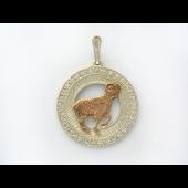 Знак Зодиака Овен в круге с фианитами, серебро