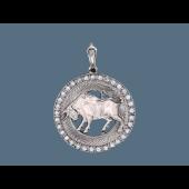 Кулон Телец в круге с фианитами и алмазными гранями, серебро