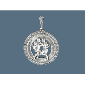 Кулон Близнецы в круге с фианитами и алмазными гранями, серебро