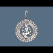 Кулон знак зодиака Дева в круге с фианитами, серебро