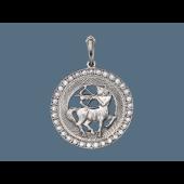 Кулон Стрелец в круге с фианитами и алмазными гранями, серебро