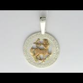 Знак Зодиака Стрелец в круге с фианитами, серебро