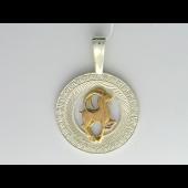 Знак Зодиака Козерог в круге с фианитами, серебро