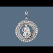 Кулон Водолей в круге с фианитами и алмазными гранями, серебро