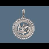 Кулон Рыбы в круге с фианитами и алмазными гранями, серебро