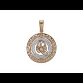 Знак Зодиака Рак в круге с греческим орнаментом и фианитами (12 шт.), красное и белое золото 4см