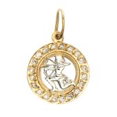"""Кулон знак зодиака """"Стрелец"""" в круге с фианитами, красное золото, 1.5 см"""