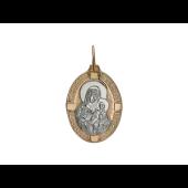 Икона Божией Матери Неувядаемый цвет, красное золото, родирование 33*25 мм