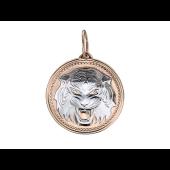 Кулон Тигр в круге, родирование, красное золото