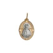 Матрона Святая Московская в овальном окладе, красное золото, родирование