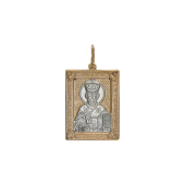 Николай Чудотворец  в прямоугольном окладе, красное золото, родирование 35*25 мм