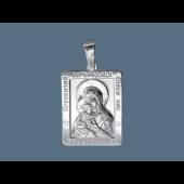 Владимирская Икона Божьей Матери в прямоугольном окладе из серебра