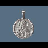 Николай Чудотворец в круглом окладе из серебра