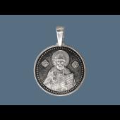 Спаситель Вседержитель в круглом окладе из серебра с чернением