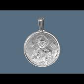 Спаситель в круглом окладе из серебра