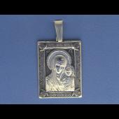 Казанская Икона Божьей Матери в прямоугольном окладе из серебра с чернением