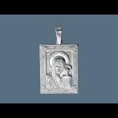 Казанская Икона Божьей Матери в прямоугольном окладе из серебра