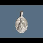 Святой Пантелеймон в овальном окладе из серебра