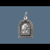 Казанская Икона Божьей Матери в окладе с растительным рисунком из серебра с чернением