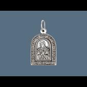 Семистрельная Икона Божьей Матери в окладе с растительным узором из серебра с чернением