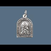 Владимирская Икона Божьей Матери в окладе с растительным узором, серебро с чернением