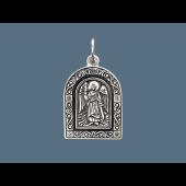 Ангел Хранитель в окладе с растительным узором, серебро с чернением