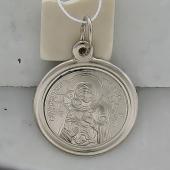 Владимирская Икона Божьей Матери в круглом окладе из серебра