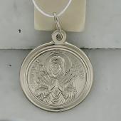 Икона Семистрельная Божья Матерь в круглом окладе, серебро