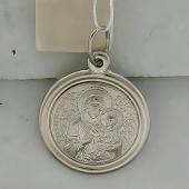 Тихвинская Икона Божьей Матери в круглом окладе, серебро