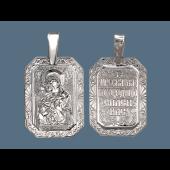 Владимирская Икона Божьей в прямоугольном окладе с растительным узором, серебро