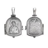 Складень икона Господь Вседержитель с молитвой, открывающийся, серебро
