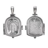 Складень икона Ангел Хранитель с молитвой, открывающийся, серебро